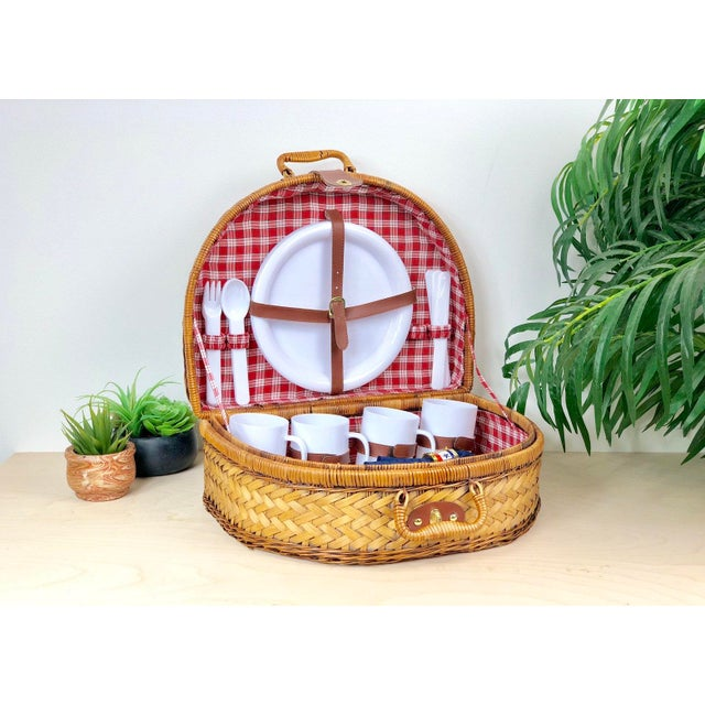 Oak Vintage Round Split Oak Picnic Basket With Dishes, Cups, Utensils For Sale - Image 7 of 7