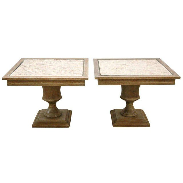 Brass Custom Cerused Oak, Brass and Marble End Tables - A Pair For Sale - Image 8 of 8