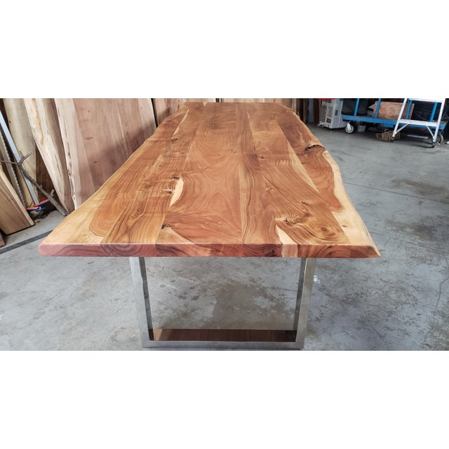 Rustic Live Edge, Acacia Wood Dining Table For Sale - Image 4 of 8