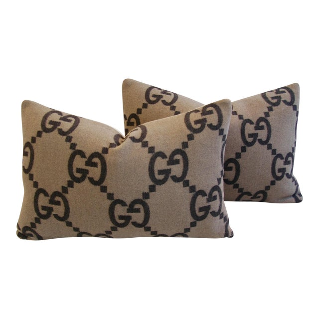 """23"""" X 16"""" Custom Tailored Gucci Cashmere & Velvet Feather/Down Pillows- Pair - Image 1 of 10"""