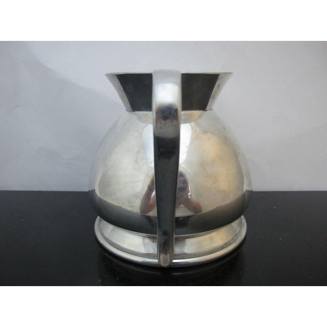 """Modernist style silver plate water pitcher marked """"D Made in England for Brooks Brothers Est 1818 W1814 3"""". Excellent..."""