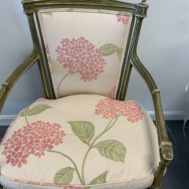 Italian Italian Upholstered Arm Chairs- A Pair For Sale - Image 3 of 10