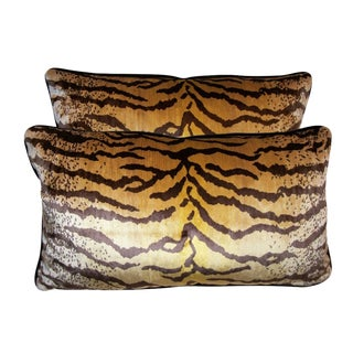 Tigre Velvet Down Feather Lumbar Pillows - Set of 2 For Sale