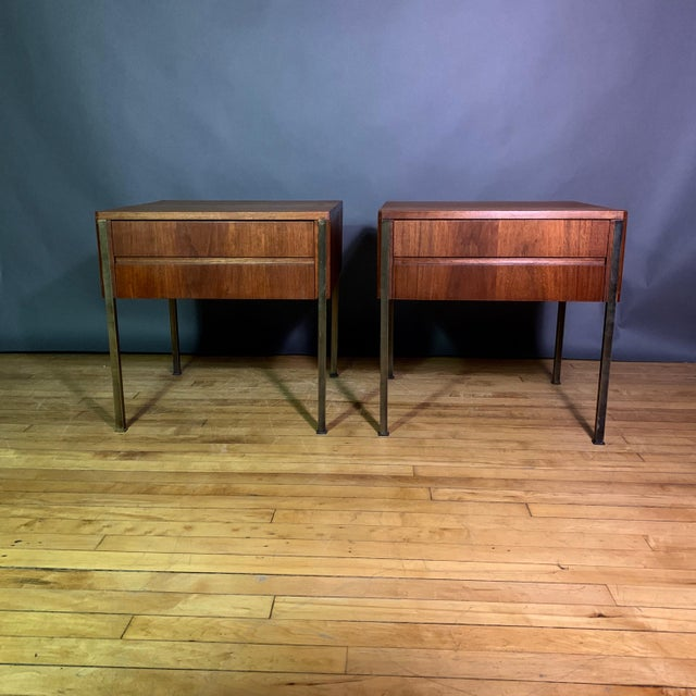 Pair Edmund Spence Walnut and Brass End Tables, Sweden 1945 For Sale In New York - Image 6 of 11