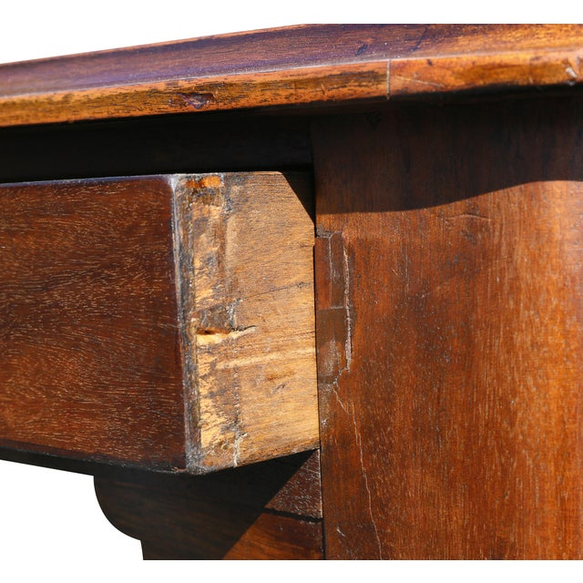 Gold Large Victorian Mahogany Writing Table For Sale - Image 8 of 13