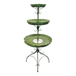 English Tole Three-tier Plant Stand, Lovely Worn Painted Finish For Sale