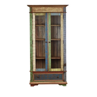 Reclaimed Wood Curio Display Cabinet For Sale