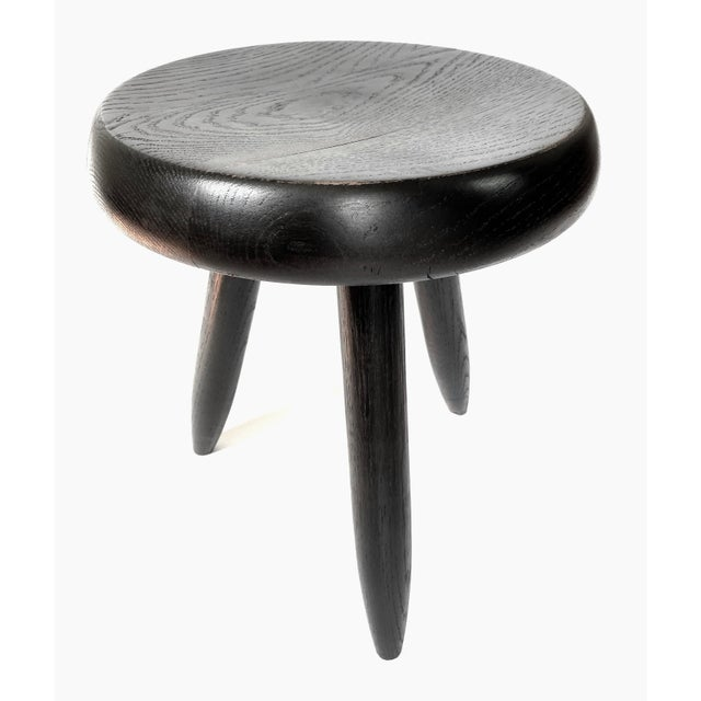 "Charlotte Perriand stool, 1950s, Galerie Steph Simon, Paris, three legs with round seat in ebonized oak, 13""dia. x 15.5""h..."