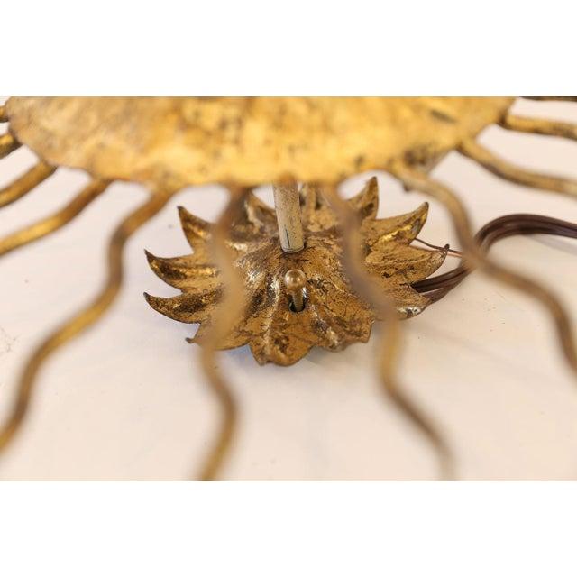 Gilt Sunburst Flush Mount Light For Sale - Image 9 of 13