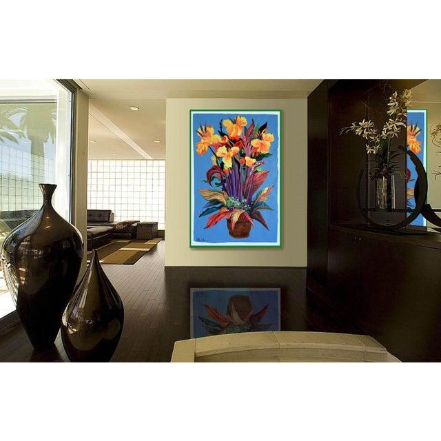 """Pot De Fleurs"" Calla and Canna Watercolor Painting - Image 6 of 8"