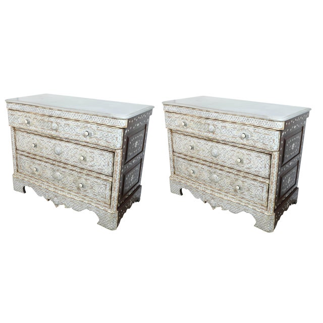 Pair of Syrian White Mother-Of-Pearl Inlay Wedding Dressers For Sale - Image 10 of 10