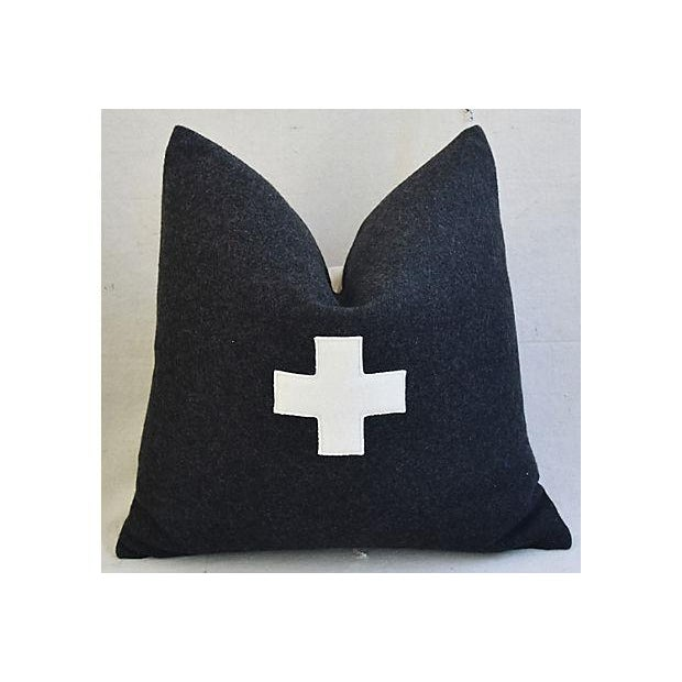 "22"" Custom Tailored Charcoal Appliqué Cross Wool Feather/Down Pillows - a Pair For Sale - Image 4 of 12"