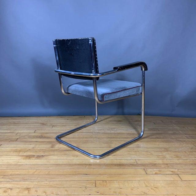 C1940 Tubular Chrome Cantilever Armchair, Velvet Seat For Sale - Image 4 of 9