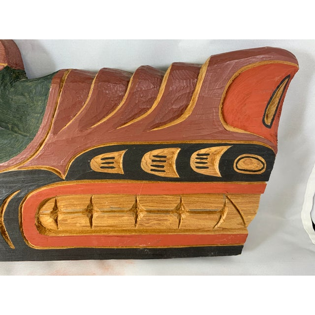 Brown Cecil Dawson Native Northwest Grizzly Bear Painted Wood Carving, Signed For Sale - Image 8 of 13