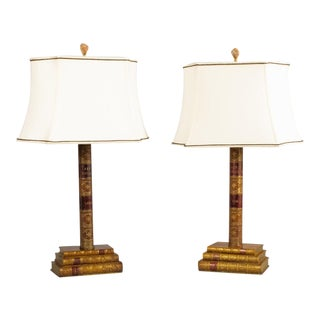 Pair of Leather Book Table Lamps from England, 1950s