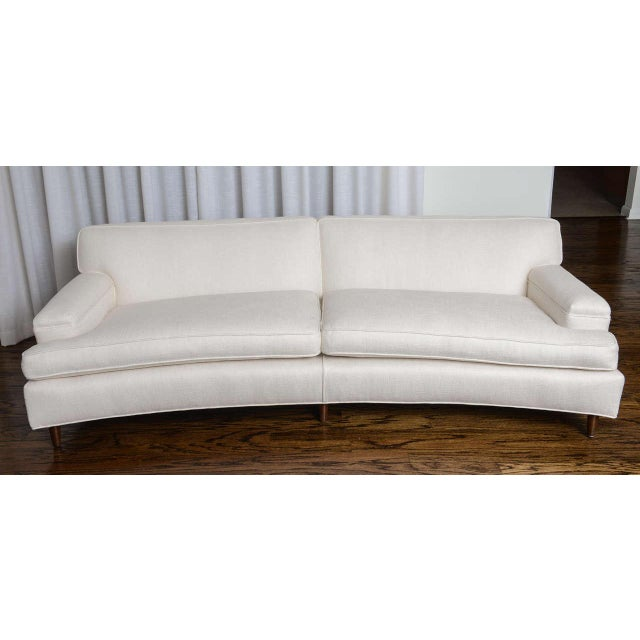Mid-Century Modern Curved Sofa in White Fabric by Edward Wormley for Dunbar For Sale - Image 10 of 11