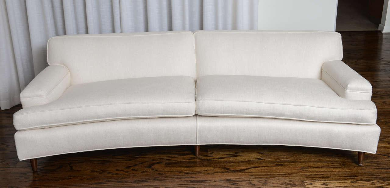 Mid Century Modern Curved Sofa In White Fabric By Edward Wormley For Dunbar