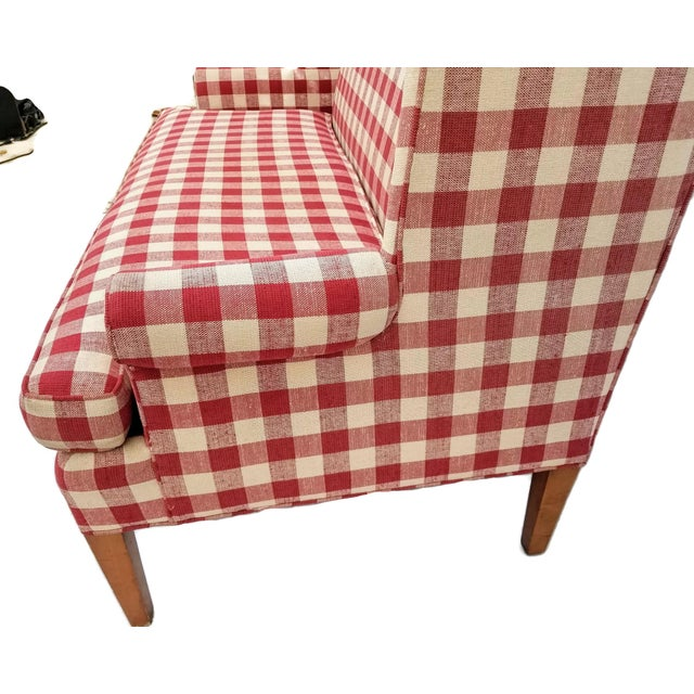 Vintage Wingback Red Gingham Check Love Seat by Hickory Tavern a Division of Lane Furniture For Sale - Image 4 of 7