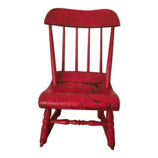 Early 19th Century Child's Rustic Red Wooden Rocking Chair For Sale