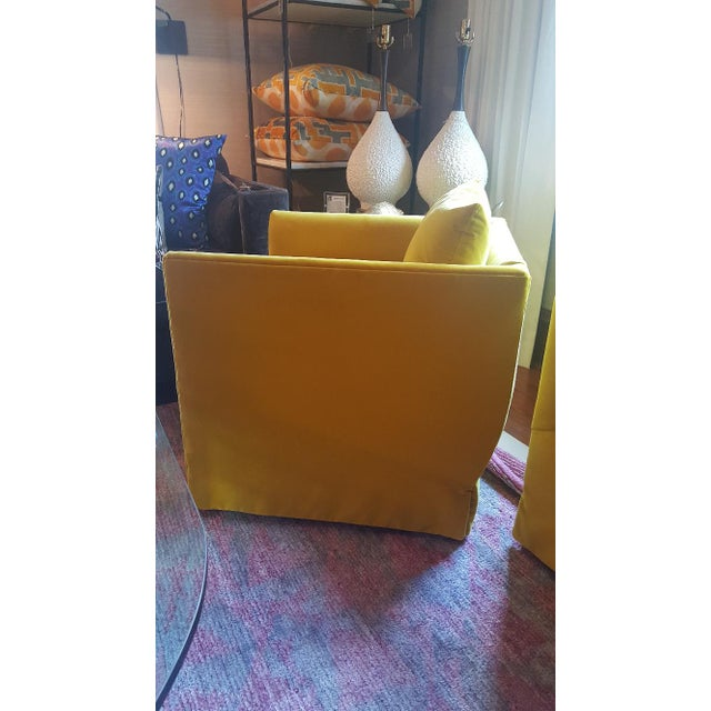 Lee Industries Closed Back Yellow Velvet Club Chair For Sale - Image 4 of 4