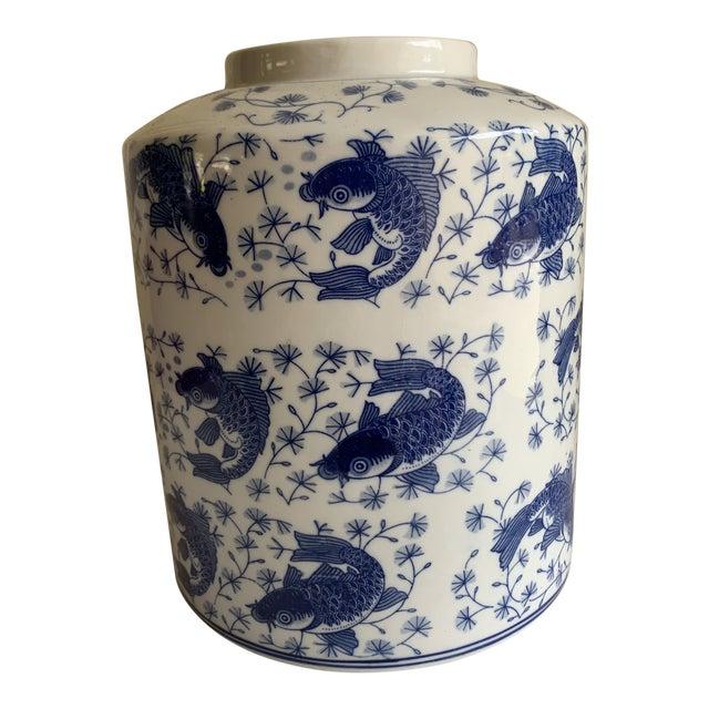 Blue & White Asian Koi Fish Ceramic Vase For Sale