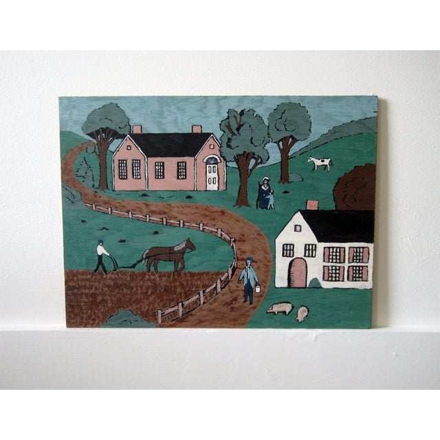 Folk Art Village Scenes - Pair - Image 3 of 4