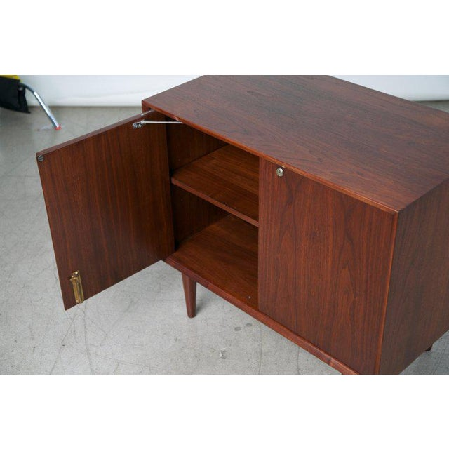 Small Mid-Century Modern Lockable Walnut Cabinet or Mini-Bar or Dry Bar For Sale - Image 9 of 13
