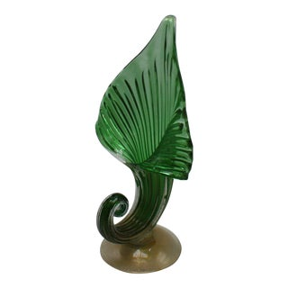 Archimede Seguso Jack-In-The-Pulpit Vase With 24k Gold Inclusions, C. 1950 For Sale