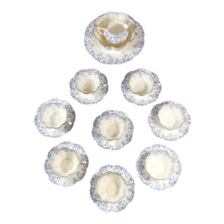 Staffordshire Porcelain English Coffee-Tea Cups With Plate Service for 8 - 19 Piece Set For Sale