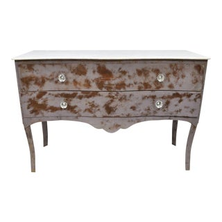 Steel Bombe Marble Top French Commode