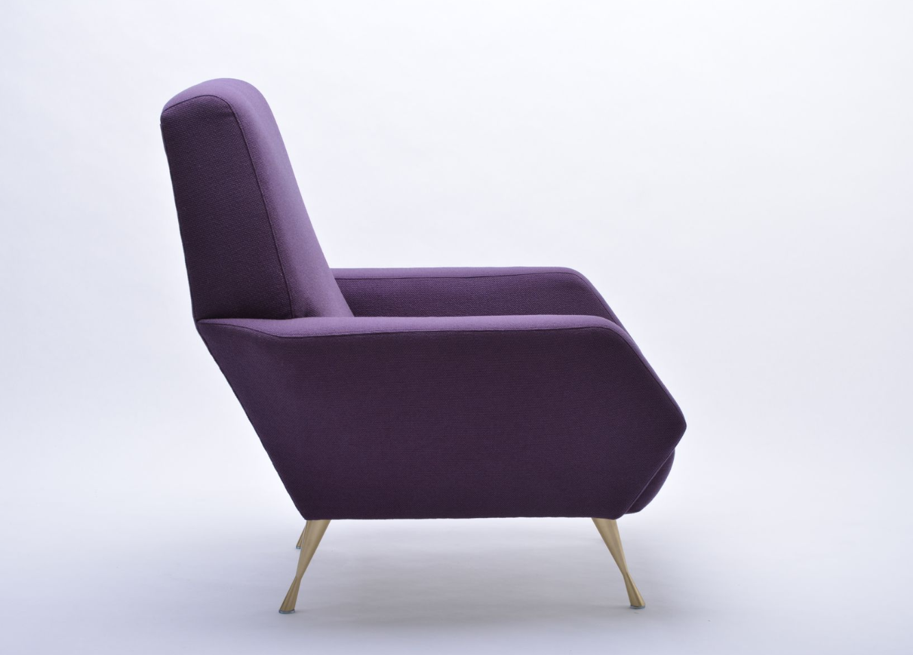 Italian Upcycled Italian Purple Lounge Chair, 1950s For Sale   Image 3 Of 10