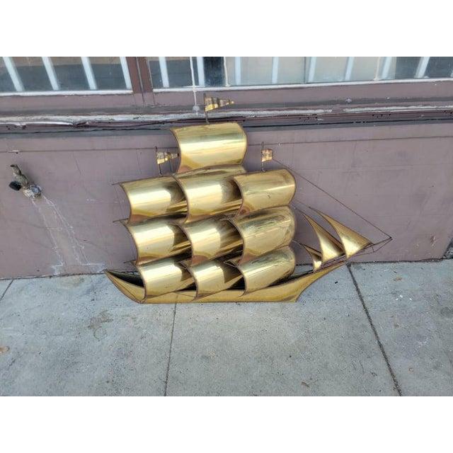 Metal 1970s Vintage Brass Ship Sculpture For Sale - Image 7 of 13