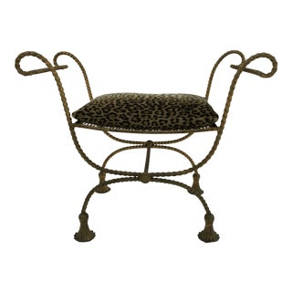 Gilded Iron Regency Style Bench For Sale