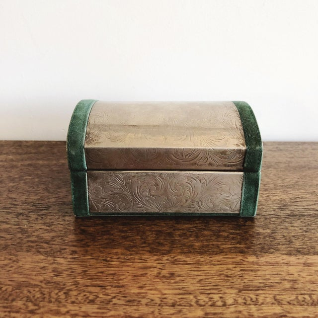 Metal Embossed Tin and Green Velvet Box For Sale - Image 7 of 7
