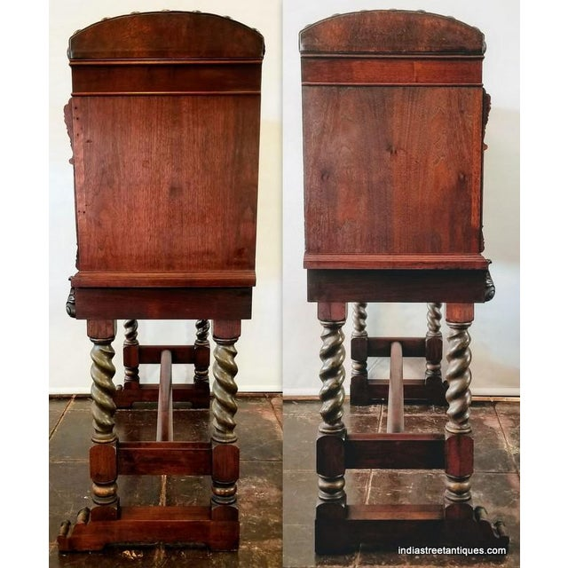 Chestnut Spanish Colonial Revival Painted Leather and Wood Drop-Front Desk on Stand and Chair For Sale - Image 8 of 13