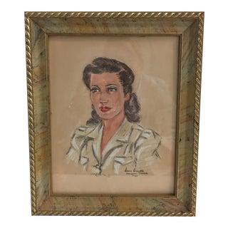 1941 Vintage Portrait of Woman Painting