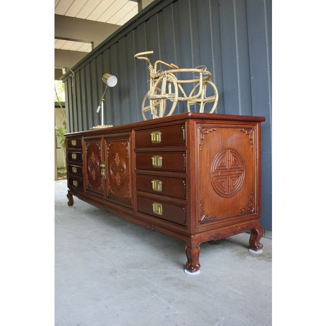Chinoiserie Rosewood Credenza With Brass Pulls For Sale In Dallas - Image 6 of 11