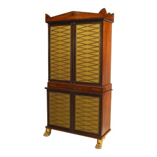 19th Century English Regency Mahogany and Brass Cabinet For Sale
