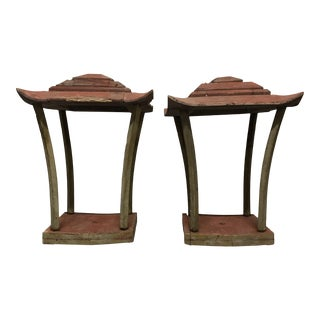 Early 20th Century Wooden Lanterns- A Pair For Sale