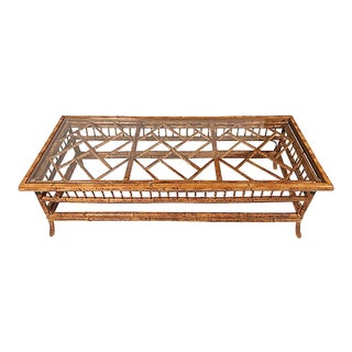 Burnt Bamboo Chippendale Coffee Table For Sale