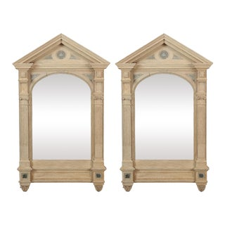 19th Century Italian White Painted Arched Mirrors - a Pair For Sale