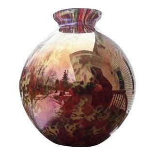 1920s Hand Blown Kralik Czech Studio Art Glass Iridescent Vase For Sale