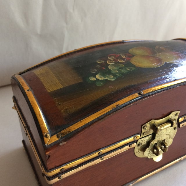Vintage Hand Painted Fruit Motif Wooden Box For Sale - Image 10 of 11