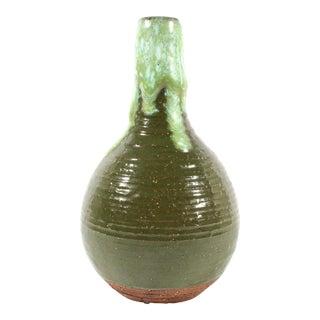 Joanna Price Mid-Century Stoneware Studio Pottery Drip Glaze Vase For Sale