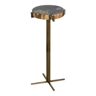 Kenneth Ludwig Petrified Wood Round Martini Table For Sale