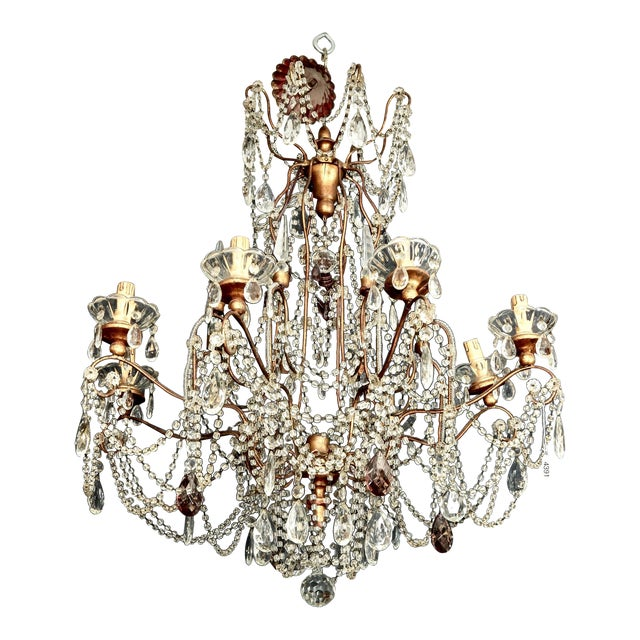 Classic Eight Light Italian Crystal Chandelier With Gilt Wood Bobeches - Image 1 of 6