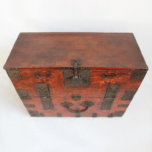 Offered is an antique Mongolian storage chest with original bronze hardware and fold-down front panel. Great used as a...
