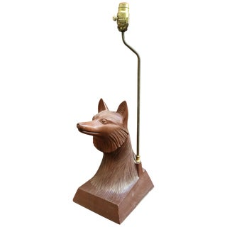 1950s Carved Wood Fox Head Table Lamp For Sale