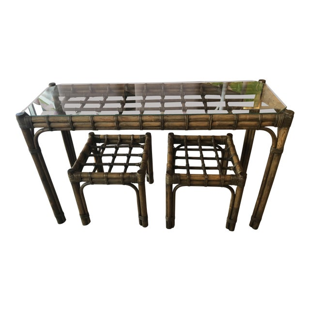 Vintage Tropical Bamboo Rattan Console Table and Benches - 3 Pc. Set For Sale