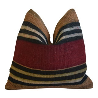 """Red & Brown Boho-Chic Striped Turkish Carpet Feather/Down Pillow 18"""" Square For Sale"""